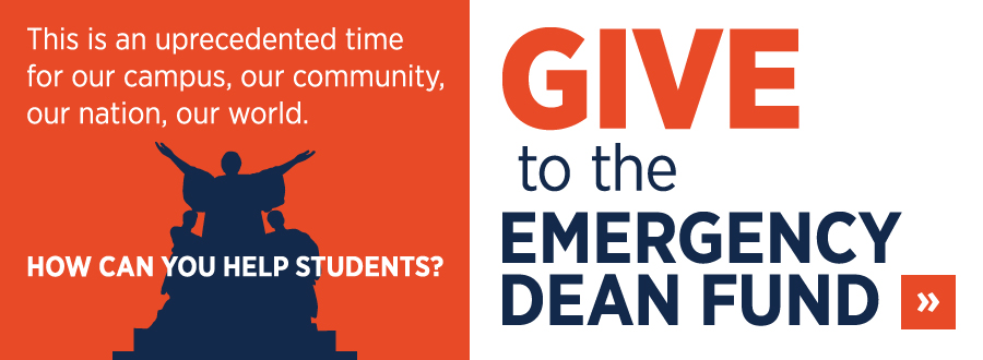 Give to the Emergency Dean Fund graphic.